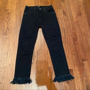 Just black fringe jeans